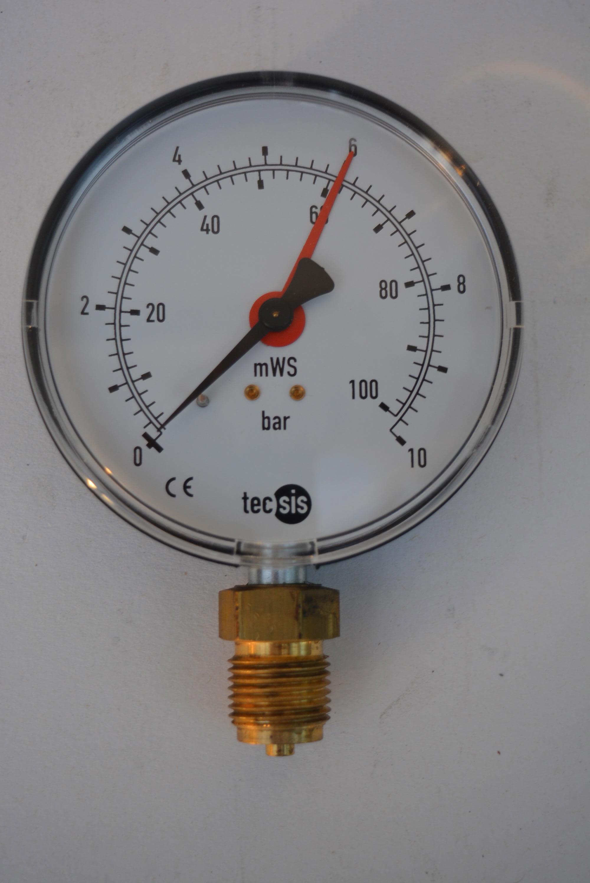 manometer druckmanometer 10 bar durchmesser 10 cm tecsis 1 2 typ ng dia ebay. Black Bedroom Furniture Sets. Home Design Ideas